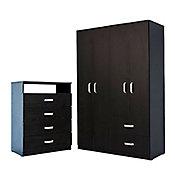 Combo  Closet 4 puertas y 2 cajones wengue negro  + Cómoda 4 cajones DVD