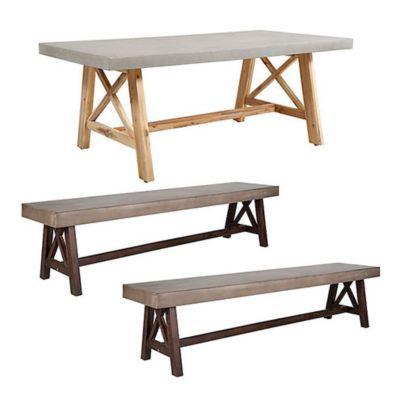 Combo  Mesa Bradford 2 x 1 m + 2 Bancas de madera Bradford