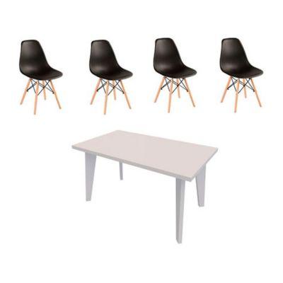 Combo  Mesa de Comedo color blanco + Set 4 Sillas Eames
