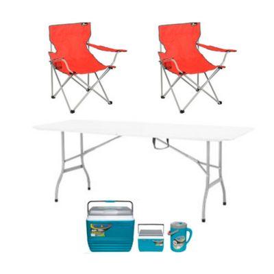 Combo  Mesa plegable tipo maleta 244 cm + Combo nevera 30+4,5 l y jarro 2,5 l + 2 Silla camping roja con apoya brazos