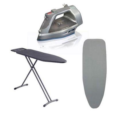 Combo  Plancha con Durathon y Autolimpieza + Tabla de planchar con cobertor gris + Funda p/tabla planchar gris