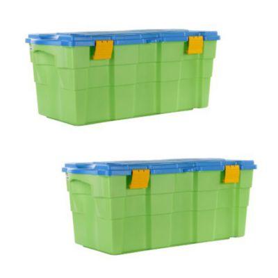 Combo  2 Baul 100 lts 40X45X94 Verde con tapa Celeste