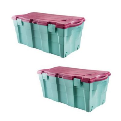 Combo  2 Baul 100 lts color aqua con rosado