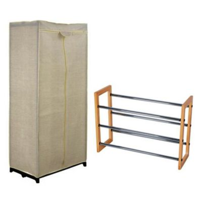 Combo  Clóset portátil 75 x 45 x 160 cm + Zapatera extensiva, 63 a 115 cm de madera natural