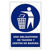 Señal uso obligado de tachos de basura