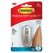 Gancho command baño plateado
