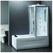 Cabina de ducha y tina 80x66cm con ducha española y 3 hidrojets