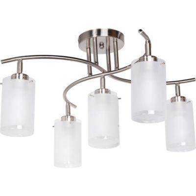 L mpara de techo cromo vidrio 5 luces - Lamparas originales de techo ...