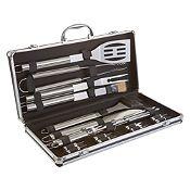 Set 18 utensilios de parrilla + caja aluminio