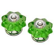 Pack de 2 Pomos 40mm Cristal Verde