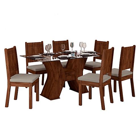 Juego de comedor Montana 6 personas madera y vidrio - Móveis - 2655616
