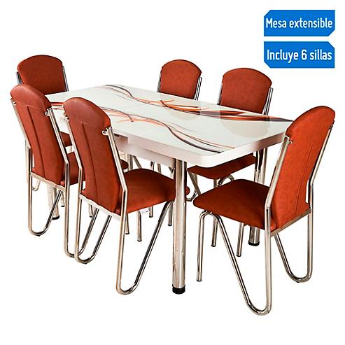 Juego de comedor Extensible Luna 4 a 6 sillas marrón - Always Star ...