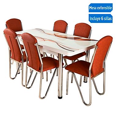 Juego de comedor Extensible Luna 4 a 6 sillas marrón