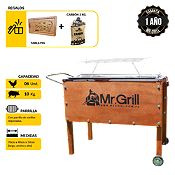 Caja China Mediana Premium Acero Inoxidable +Parrilla Varillas Niquelada + Tabla Pig + Carbón