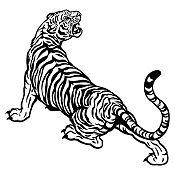 Vinilo Tigre rugiendo Negro