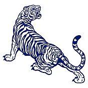 Vinilo Tigre rugiendo Azul Oscuro