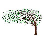 Vinilo Árbol en otoño Verde claro, verde oscuro, marrón 282x180cm