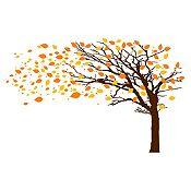 Vinilo Árbol en otoño Amarillo, naranja, marrón 252x160cm