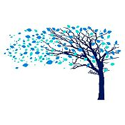 Vinilo Árbol en otoño Menta, azul claro, azul oscuro 282x180cm