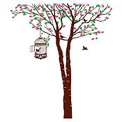 Vinilo Árbol y jaula Fucsia, verde claro, marrón 132x150cm