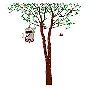 Vinilo Árbol y jaula Verde claro, verde oscuro, marrón 158x180cm
