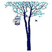 Vinilo Árbol y jaula Menta, azul claro, azul oscuro 132x150cm