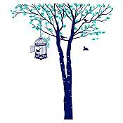 Vinilo Árbol y jaula Menta, verde turquesa, azul oscuro 132x150cm