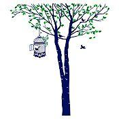 Vinilo Árbol y jaula Verde claro, verde oscuro, azul oscuro 158x180cm