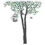 Vinilo Árbol y jaula Verde claro, verde oscuro, gris oscuro 105x120cm