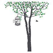 Vinilo Árbol y jaula Verde claro, verde oscuro, gris oscuro 132x150cm