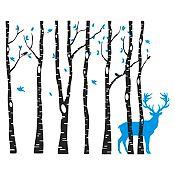 Vinilo Árboles y ciervo Azul claro, negro 172x140cm