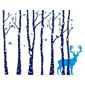Vinilo Árboles y ciervo Azul oscuro, azul claro