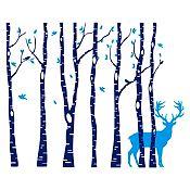 Vinilo Árboles y ciervo Azul oscuro, azul claro 196x160cm