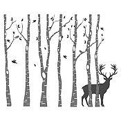Vinilo Árboles y ciervo Negro, gris oscuro