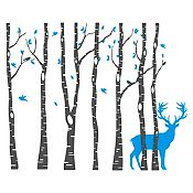 Vinilo Árboles y ciervo Gris oscuro, azul claro 220x180cm