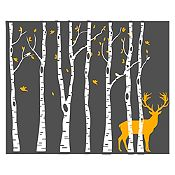 Vinilo Árboles y ciervo Blanco, naranja 172x140cm