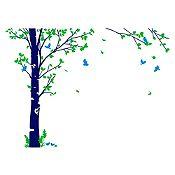 Vinilo Hojas de otoño Verde claro, azul claro, azul oscuro 205x150cm