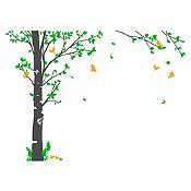 Vinilo Hojas de otoño Verde claro, naranja, gris oscuro 164x120cm