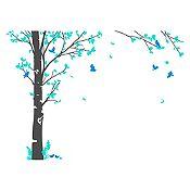 Vinilo Hojas de otoño Menta, azul claro, gris oscuro 246x180cm