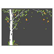 Vinilo Hojas de otoño Verde claro, naranja, blanco 205x150cm