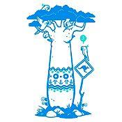 Vinilo Árbol baobab Azul claro, menta 84x140cm