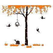Vinilo Árbol del amor Naranja, negro 163x140cm