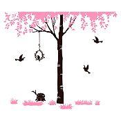 Vinilo Árbol del amor Rosado, negro 186x160cm