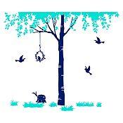 Vinilo Árbol del amor Menta, azul oscuro 186x160cm