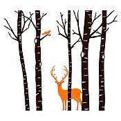 Vinilo Árboles, ave y ciervo Negro, naranja 203x180cm