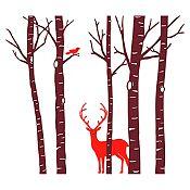 Vinilo Árboles, ave y ciervo Marrón, rojo 203x180cm