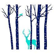 Vinilo Árboles, ave y ciervo Azul oscuro, menta 158x140cm