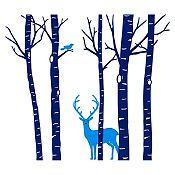 Vinilo Árboles, ave y ciervo Azul oscuro, azul claro