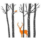 Vinilo Árboles, ave y ciervo Gris oscuro, naranja 158x140cm