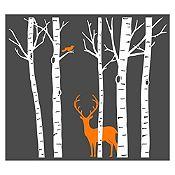 Vinilo Árboles, ave y ciervo Blanco, naranja 203x180cm